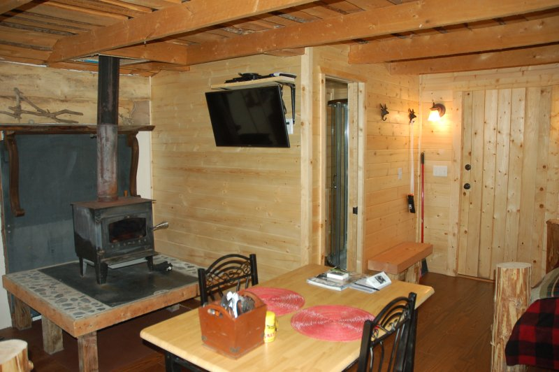 2 Seater, Wood Burning Stove and Flat Screen at Tranquility Cabin