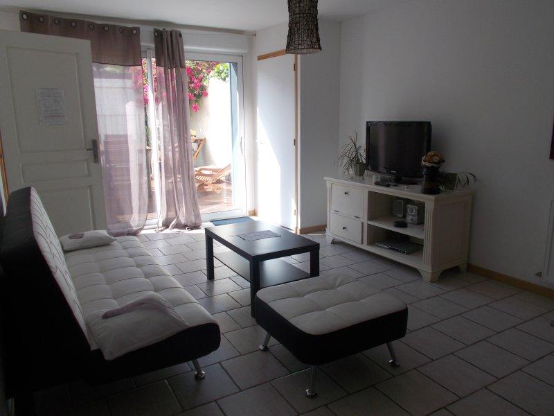 lounge com vista para terraço de madeira