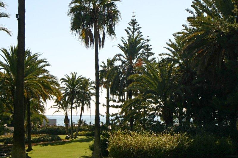 Vista para o mar a partir dos jardins do Clube Playas del Duque