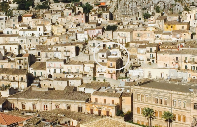 View across to the fashionable Cartellone district, with Terrazza Barocca right in the centre