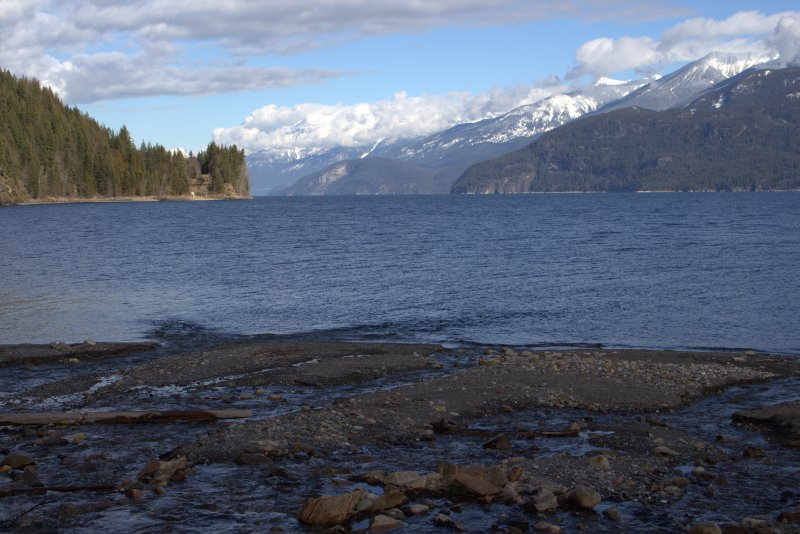 Looking north from the beach at Fletcher Falls