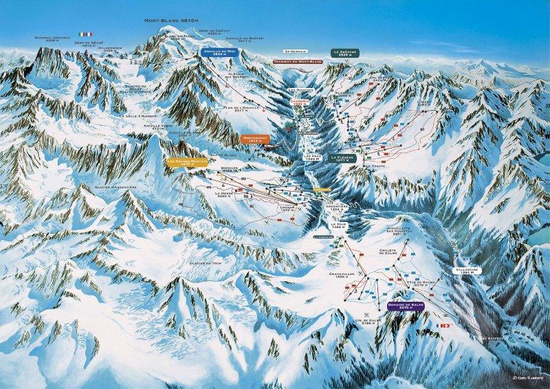 Chamonix Ski Map - chalet Marmotte Mountain Petit Zenith, Argentiere, Chamonix