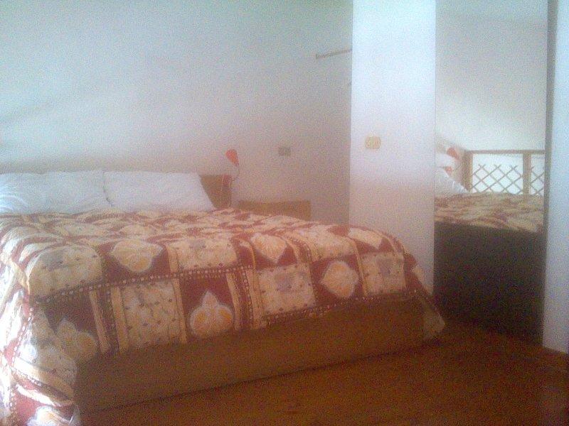 double bed on the mezzanine