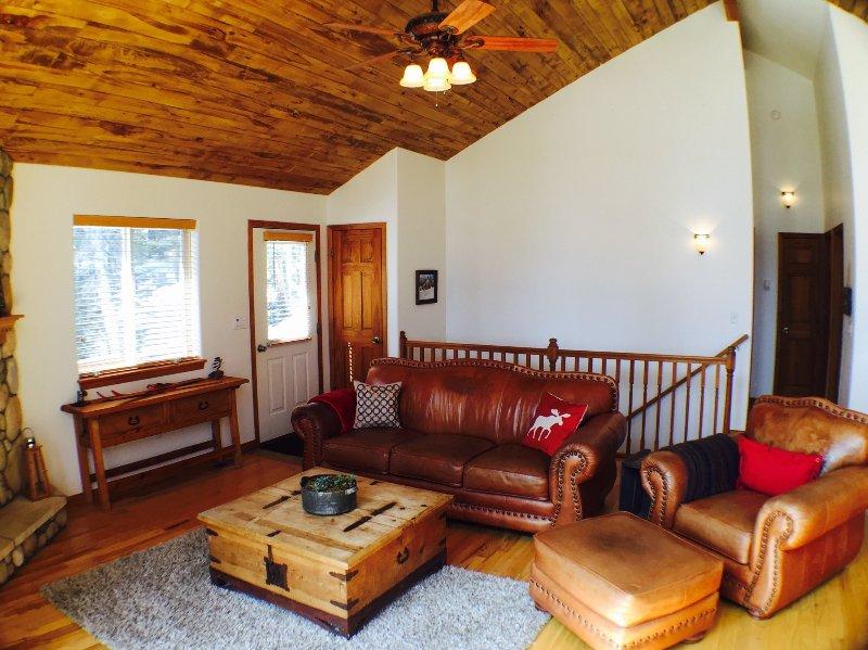 sofás de couro confortáveis e mobiliário rústico.