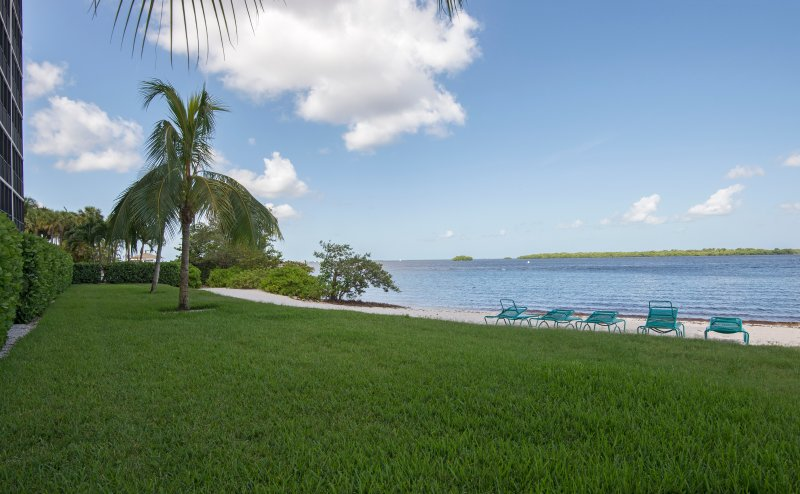 Enjoy the beach with views of the bay and preserve islands!