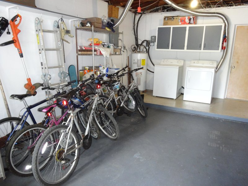 Washer and dryer, bikes to use.