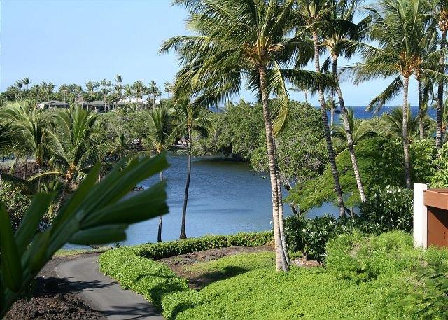 View across ponds to ocean