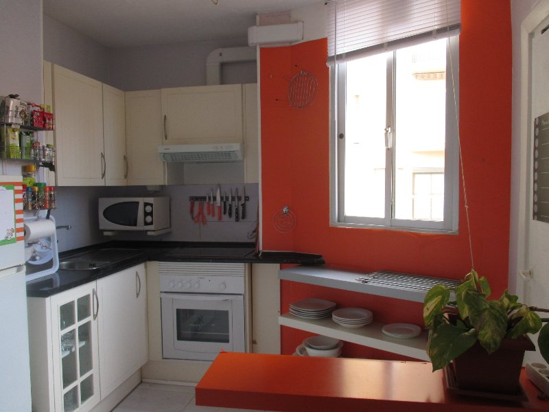 kitchen equipped with everything. Oven, microwave, refrigerator, crockery, hob.