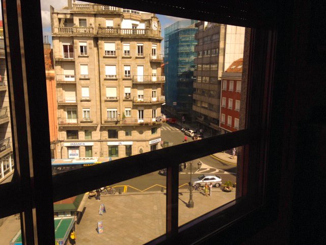 Views from the lounge to the Plaza de Galicia