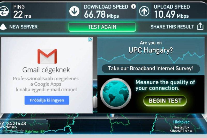 Fast internet speeds