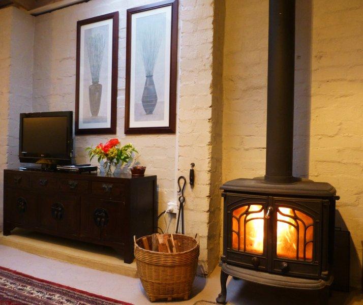 cozy log fire