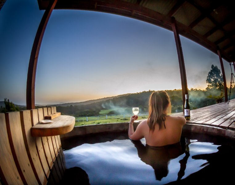 Relax in your private wood fired hot tub looking out to the Southern Ocean.