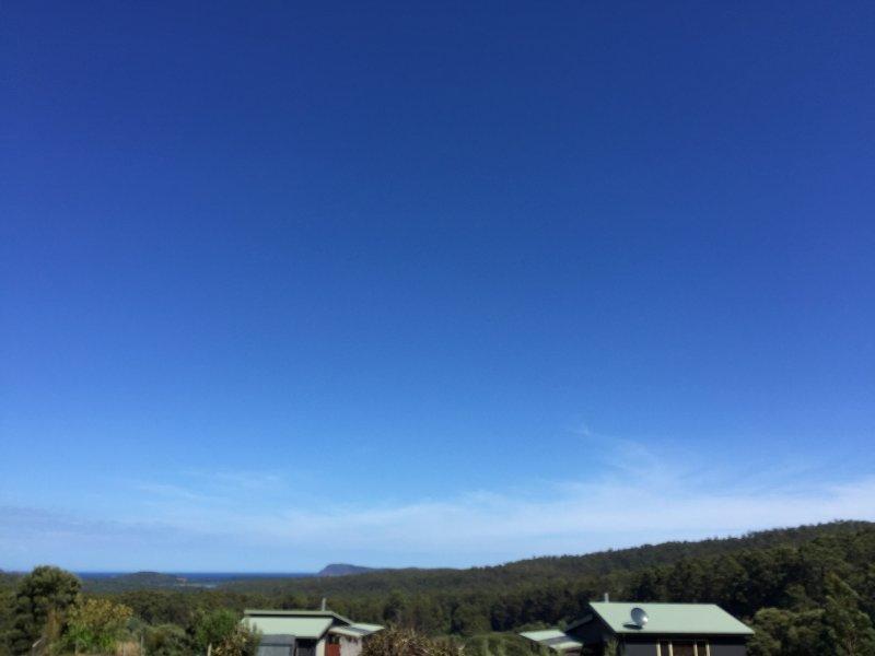 Eingebettet in Mt Mangana mit Blick auf Cloudy Bay und den Südlichen Ozean.