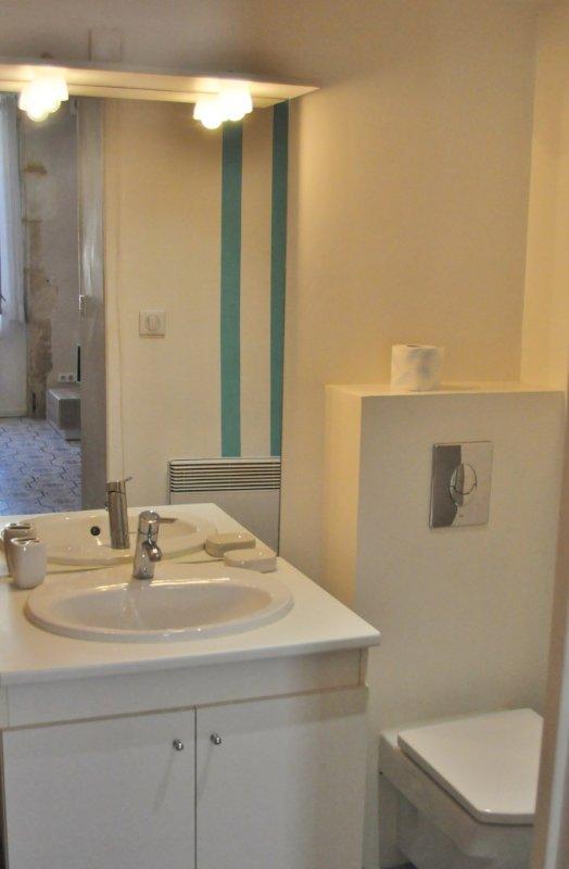 Salle de douche, vasque, WC, douche, lave linge et nombreux rangements