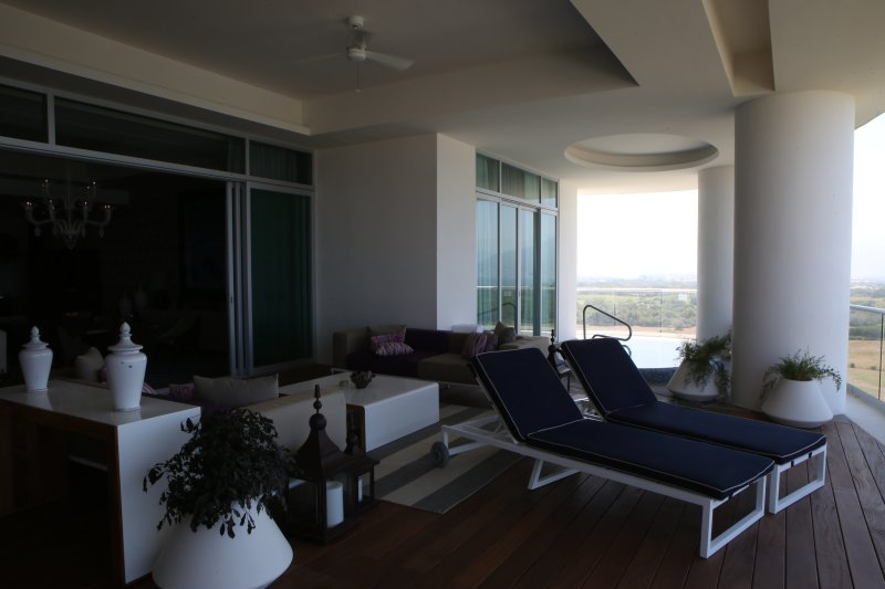 Indoor/outdoor living with large deck opening to living room and plunge pool to dip in too.