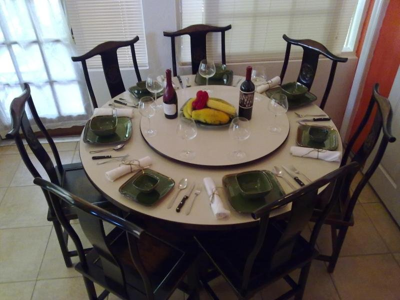 Dining room table seats six