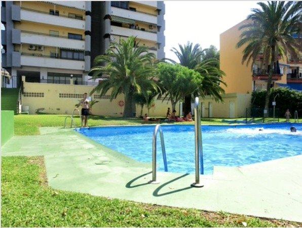 Zona ajardinada y piscina