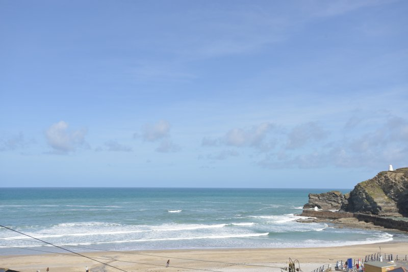 This is the actual view  from the patio at Gulls Roost, Portreath - stunning sea and beach view