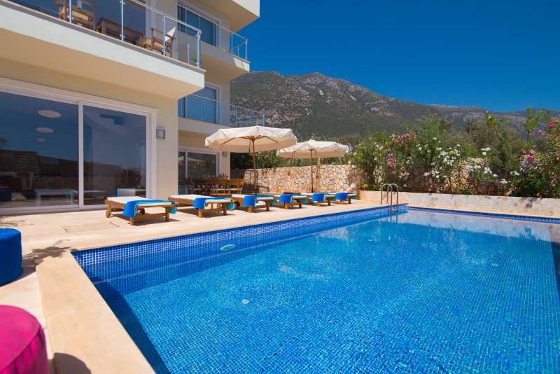 Large private pool with mountain views. Plenty of sunbeds!