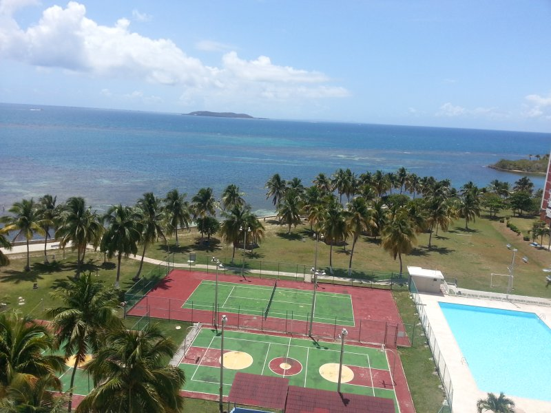 Island Grounds/pool, tennis court, basketball court, View from Living room Balcony