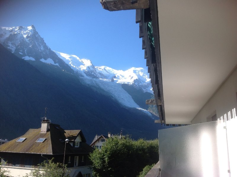 Glorious view of Mont Blanc and the Aiguilles Rouges mountain range from the large balcony