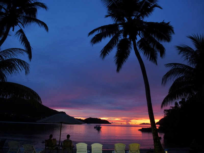 Sunset from the villas private beach front