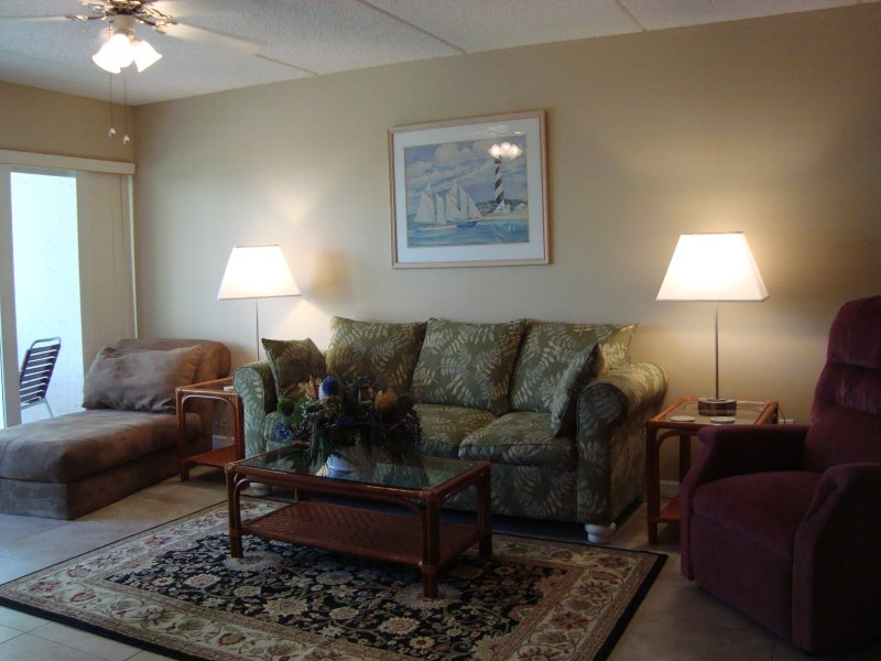 Our spacious living room has a sofa sleeper, chase and lift chair!