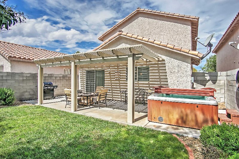 Access to the jetted hot tub will make your stay complete at this Las Vegas vacation rental house!