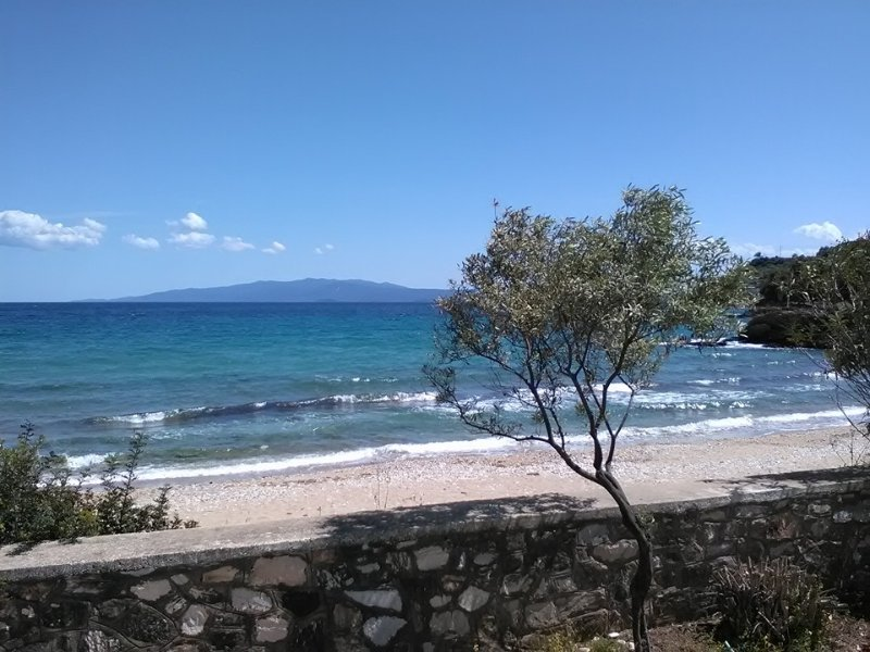 View of the beautiful beach, in front of the house. House, sand, sea become one ...