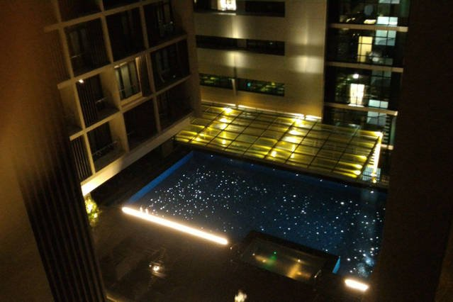 Pool view from the unit (night)
