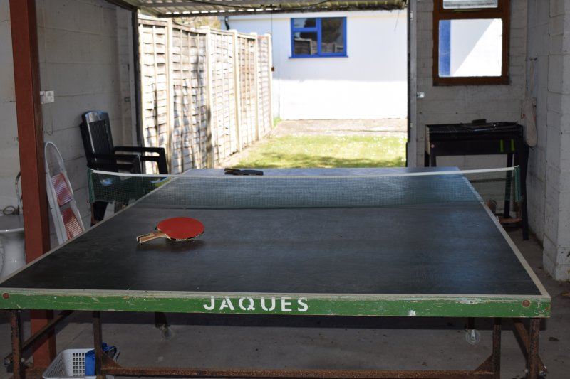 Table tennis in the garage for those rainy days - there is also space for your kayak!