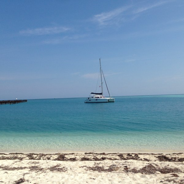 Esprit du Vent anchored off the Dry Tortugas!
