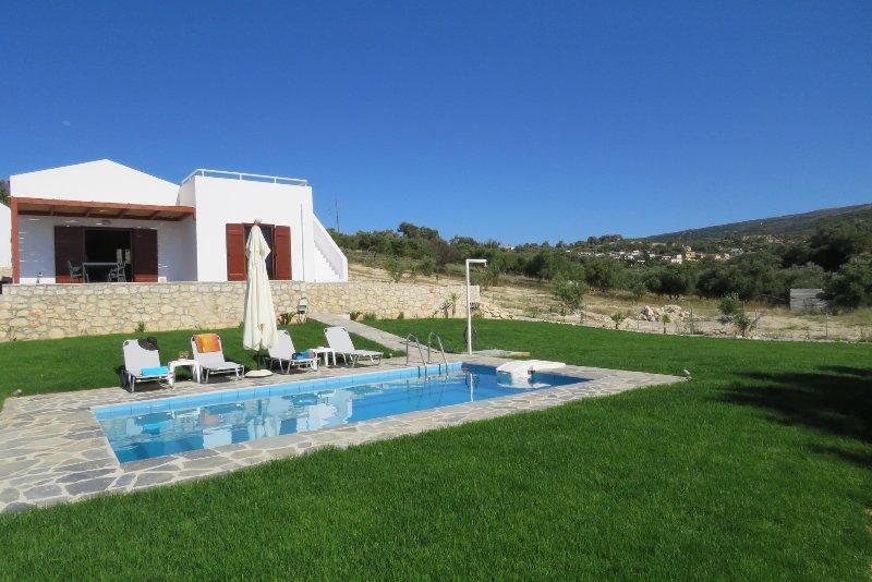 Piscine privée avec terrasse et douche extérieure.