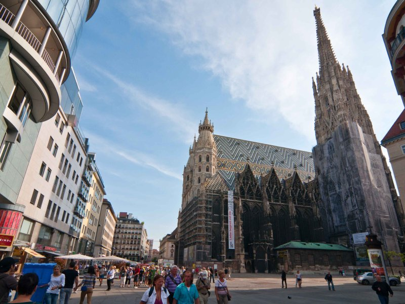 minutes walk, the Stephansdom cathedral on Stephansplatz; also underground station U1 and U3