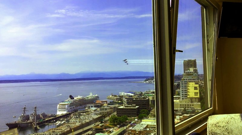 watch the Blue Angels perform over Elliott Bay