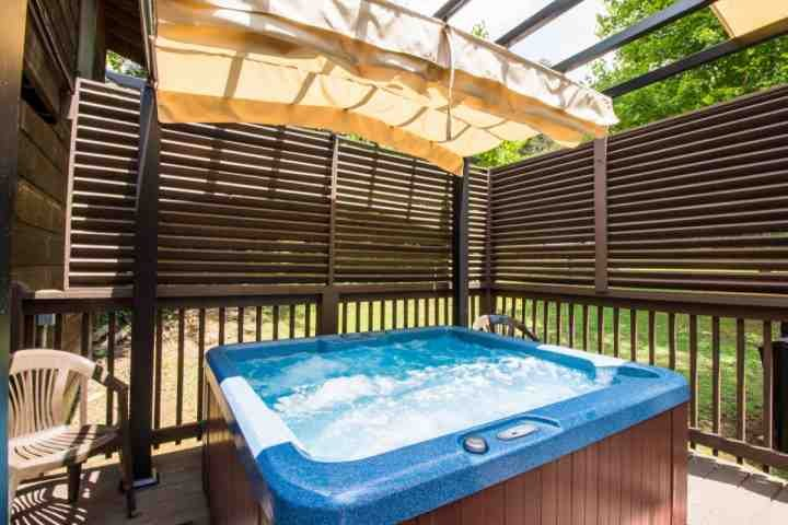 Relax in the hot tub after a long day of hiking or shopping!