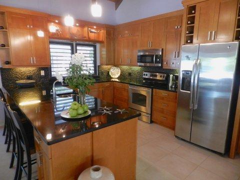 cocina totalmente equipada con fregadero de preparación, nevera de vinos, electrodomésticos de acero inoxidable.