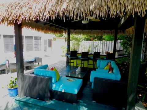 sala de Cabana ofrece zona de sombra del sol de la isla