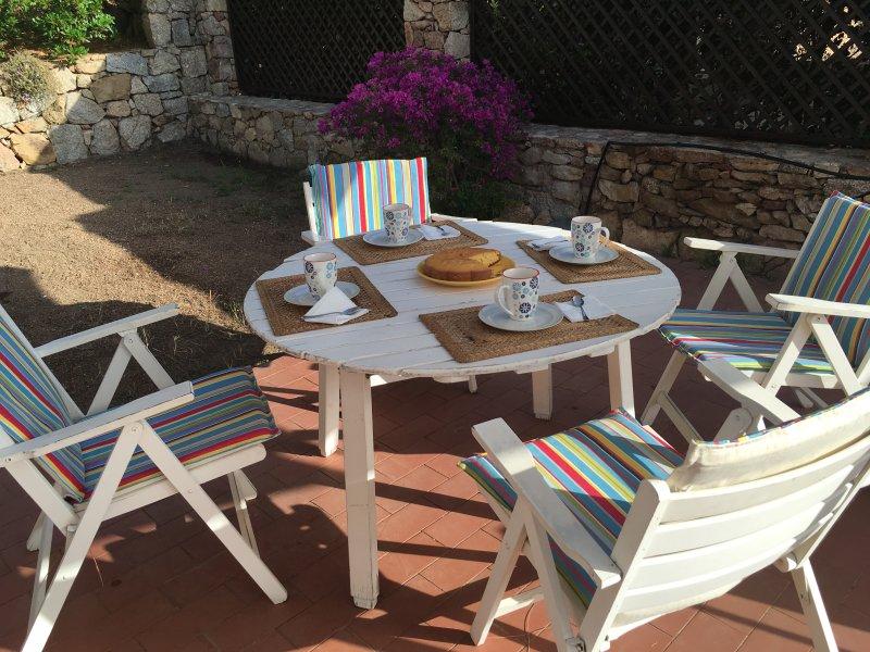 Having breakfast on the side terrace