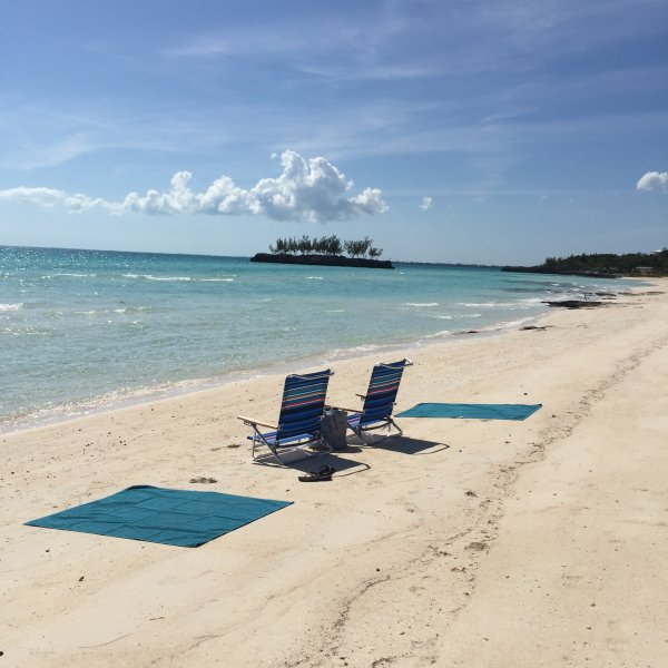 Take the provided beach chairs and towels to nearby Gaulding Cay beach.  Private and gorgeous.