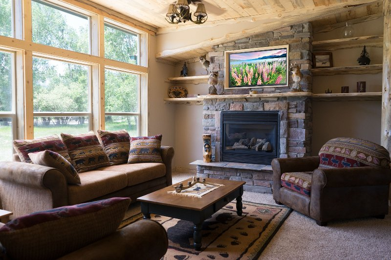 Living room with view of Mt Princeton