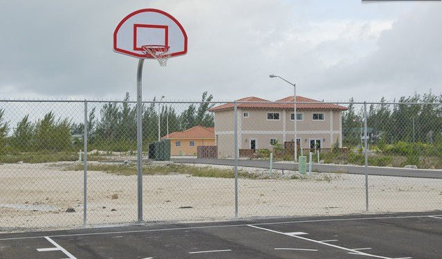 Basketball Court with Townhouse in background visible
