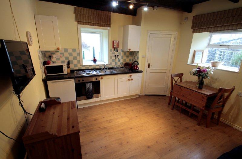 cocina abierta, bien equipada para casas rurales