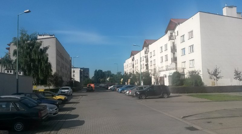 Big parking area in front of the bulding (on the right)
