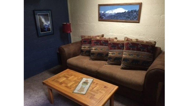 canapé Comfy dans Divertissement chambre qui se double d'un canapé-lit si nécessaire.