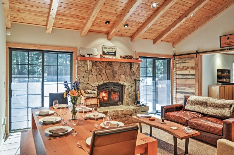 Cozy up to the wood burning fireplace.