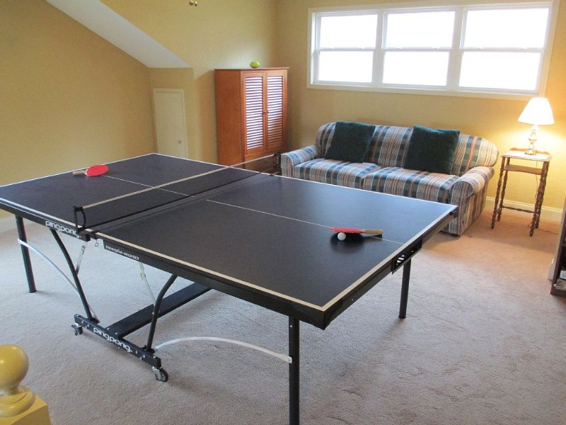 The loft has a new ping-pong table and a sofa bed with a memory foam mattress!
