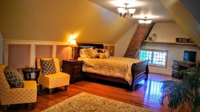 The Attic Suite has a king bed and a split queen.