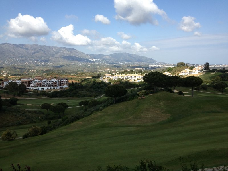 View from the garden of Mijas, mountains and golf courses