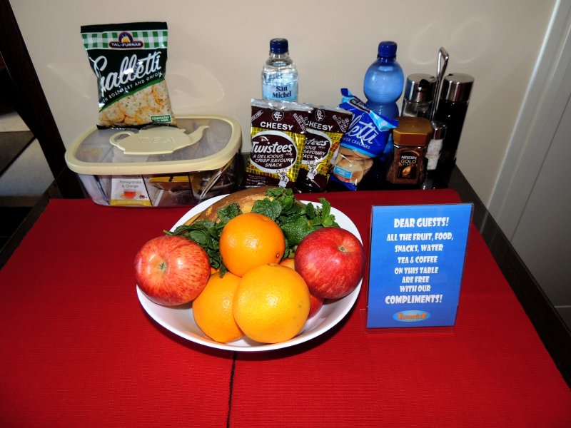 FREE fruit, snacks and water for guests upon arrival.
